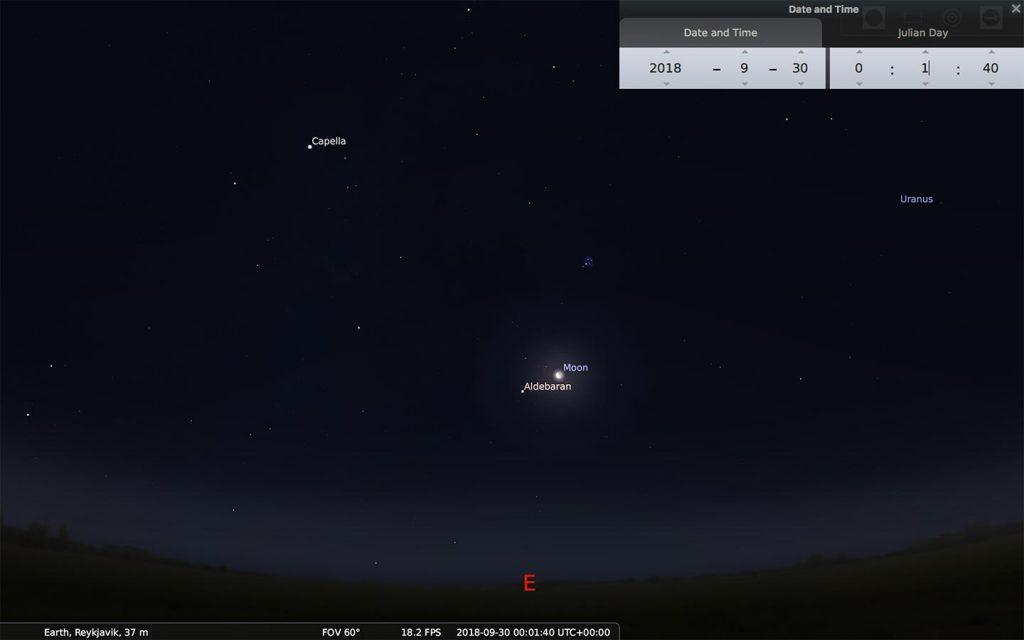 Moon and Aldebaran on September 29, 2018