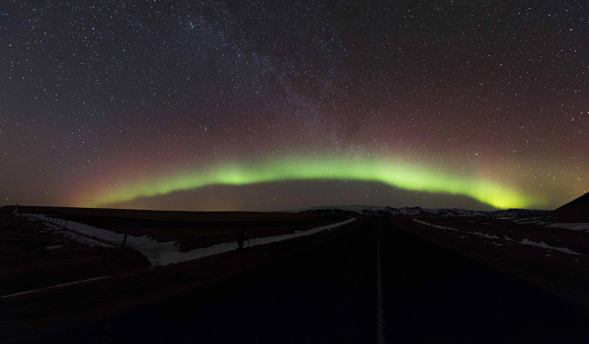 Northern lights over Mýrdalsjökull ice cap in March 2018. Credit: Sævar Helgi Bragason