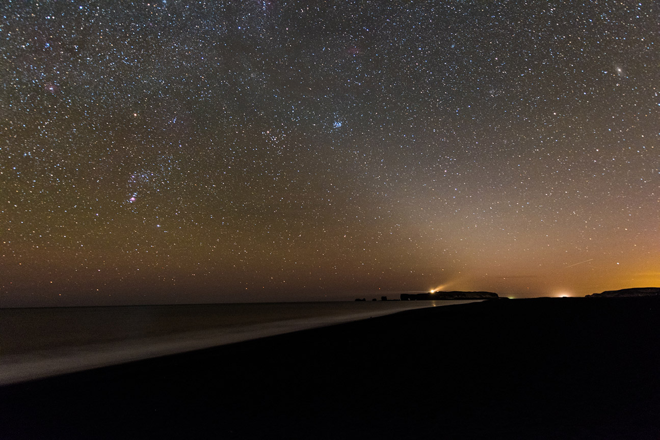 Zodiacal light over Reynisfjara beach