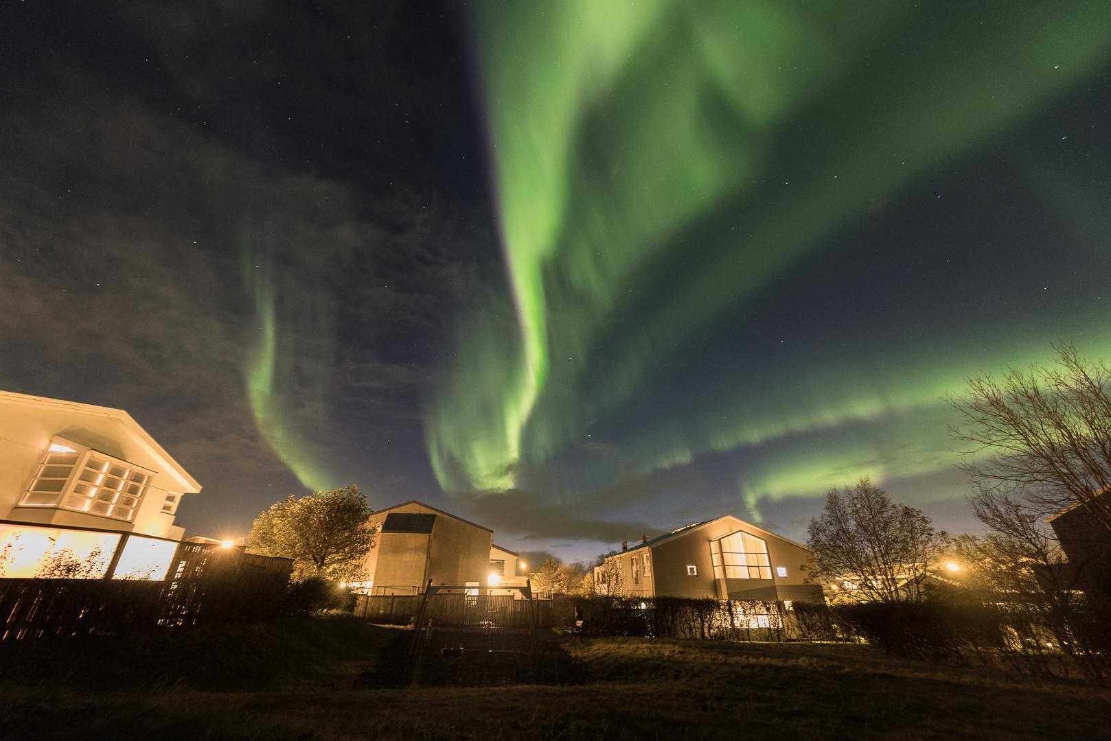 Northern lights over Hafnarfjörður, Iceland, October 2018. Credit: Sævar Helgi Bragason