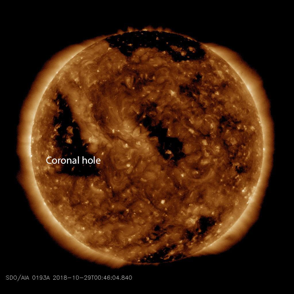 Coronal hole on the Sun, October 29, 2018. Credit. SDO/AIA